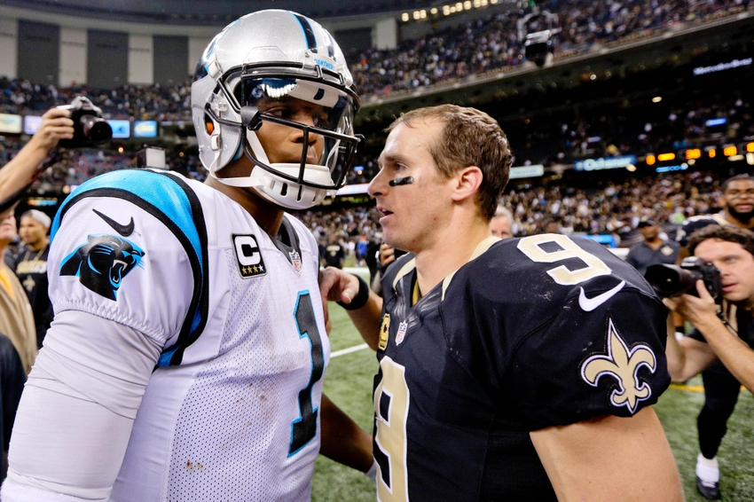 Dec 6, 2015; New Orleans, LA, USA; Carolina Panthers quarterback Cam Newton (1) shakes hands with New Orleans Saints quarterback Drew Brees (9) after their game at Mercedes-Benz Superdome. The Panthers defeated the Saints 41-38. Mandatory Credit: Derick E. Hingle-USA TODAY Sports