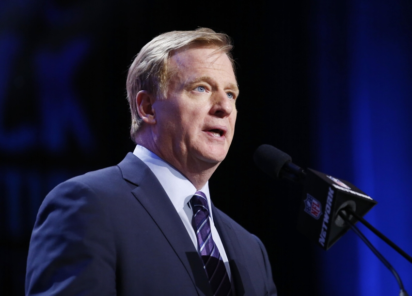 Apr 28, 2016; Chicago, IL, USA; NFL commissioner Roger Goodell announces a pick in the first round of the 2016 NFL Draft at Auditorium Theatre. Mandatory Credit: Kamil Krzaczynski-USA TODAY Sports