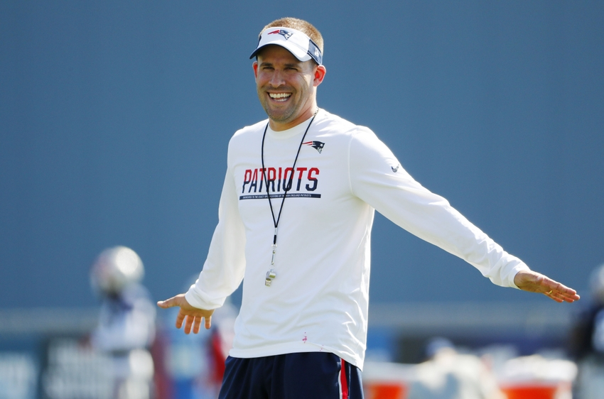 Jul 30, 2016; Foxborough, MA, USA; New England Patriots offensive coordinator Josh McDaniels smiles during training camp at Gillette Stadium. Mandatory Credit: Winslow Townson-USA TODAY Sports