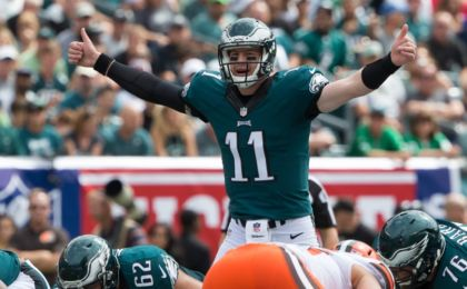 Sep 11, 2016; Philadelphia, PA, USA; Philadelphia Eagles quarterback Carson Wentz (11) audibles at the line of scrimmage against the Cleveland Browns during the first quarter at Lincoln Financial Field. Mandatory Credit: Bill Streicher-USA TODAY Sports