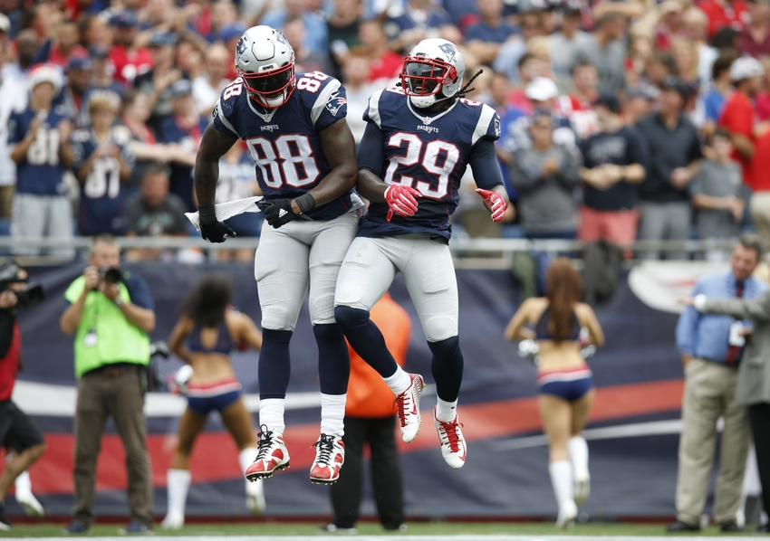 New England Patriots tight end Martellus Bennett (88) and running back LeGarrette Blount (29) celebrate after scoring one of his league-leading rushing touchdowns this season. Blount was obtained free off the waiver wire, while Bennett was obtained this past off-season, also not via the draft. His veteran skills have helped cope with the loss of star tight end Rob Gronkowski.