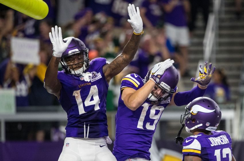 Sep 18, 2016; Minneapolis, MN, USA; Minnesota Vikings wide receiver Stefon Diggs (14) celebrates his touchdown with wide receiver Adam Thielen (19) during the third quarter against the Green Bay Packers at U.S. Bank Stadium. The Vikings defeated the Packers 17-14. Mandatory Credit: Brace Hemmelgarn-USA TODAY Sports