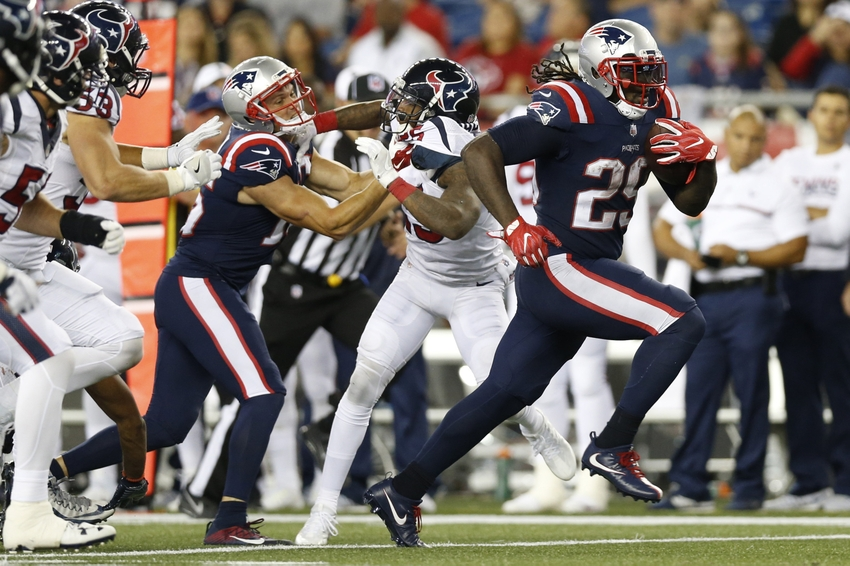 Sep 22, 2016; Foxborough, MA, USA; New England Patriots running back LeGarrette Blount (29) breaks free for a touchdown during the fourth quarter against the Houston Texans at Gillette Stadium. The Patriots won 27-0. Mandatory Credit: Greg M. Cooper-USA TODAY Sports