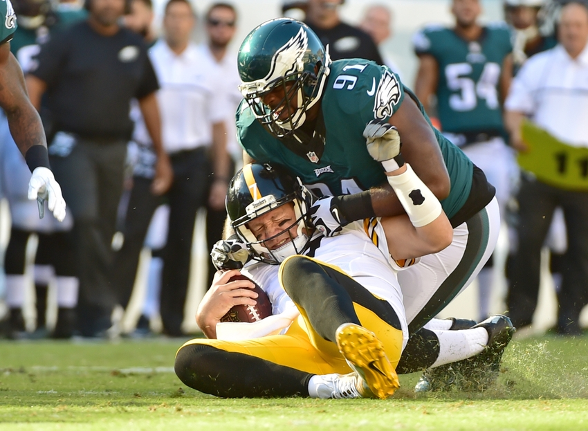 Sep 25, 2016; Philadelphia, PA, USA; Philadelphia Eagles defensive tackle Fletcher Cox (91) tackles Pittsburgh Steelers quarterback Ben Roethlisberger (7) during the second quarter at Lincoln Financial Field. Mandatory Credit: Eric Hartline-USA TODAY Sports