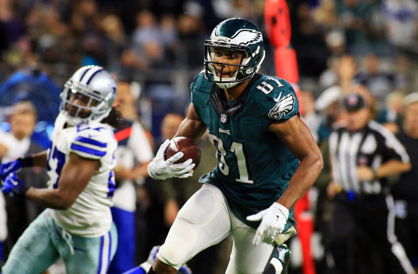 Nov 8, 2015; Arlington, TX, USA; Philadelphia Eagles wide receiver Jordan Matthews (81) goes in for the game winning touchdown during the overtime of a game against the Dallas Cowboys at AT&T Stadium. Eagles won 33-27. Mandatory Credit: Ray Carlin-USA TODAY Sports
