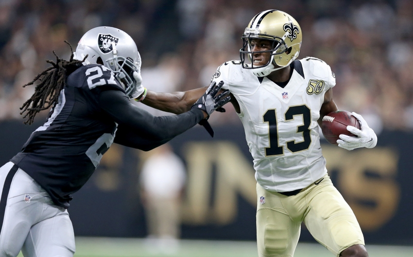 Sep 11, 2016; New Orleans, LA, USA; Oakland Raiders defensive back Reggie Nelson (27) pushes New Orleans Saints wide receiver Michael Thomas (13) out of bounds after a catch in the second quarter at the Mercedes-Benz Superdome. Mandatory Credit: Chuck Cook-USA TODAY Sports