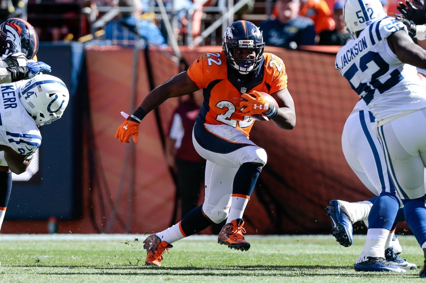 Sep 18, 2016; Denver, CO, USA; Denver Broncos running back C.J. Anderson (22) runs the ball in the second quarter against the Indianapolis Colts at Sports Authority Field at Mile High. Mandatory Credit: Isaiah J. Downing-USA TODAY Sports