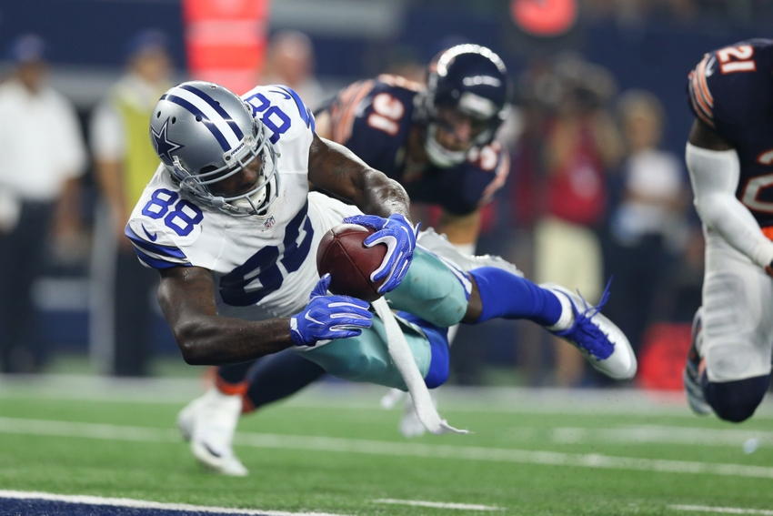 Sep 25, 2016; Arlington, TX, USA; Dallas Cowboys receiver Dez Bryant (88) dives for the end zone for a touchdown in the fourth quarter against the Chicago Bears at AT&T Stadium. Mandatory Credit: Matthew Emmons-USA TODAY Sports
