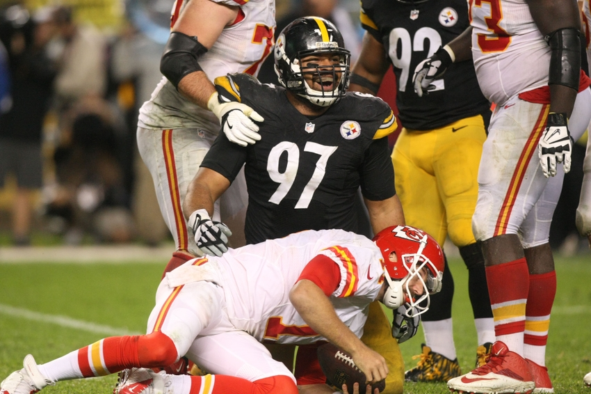 Oct 2, 2016; Pittsburgh, PA, USA; Pittsburgh Steelers defensive end Cameron Heyward (97) celebrates his sack of Kansas City Chiefs quarterback Alex Smith (11) during the second half at Heinz Field. The Steelers won the game, 43-14. Mandatory Credit: Jason Bridge-USA TODAY Sports