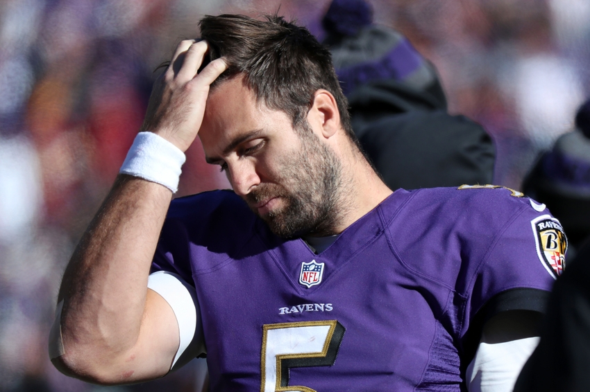 Oct 9, 2016; Baltimore, MD, USA; Baltimore Ravens quarterback Joe Flacco (5) reacts on the sideline during the game against the Washington Redskins at M&T Bank Stadium. Mandatory Credit: Mitch Stringer-USA TODAY Sports