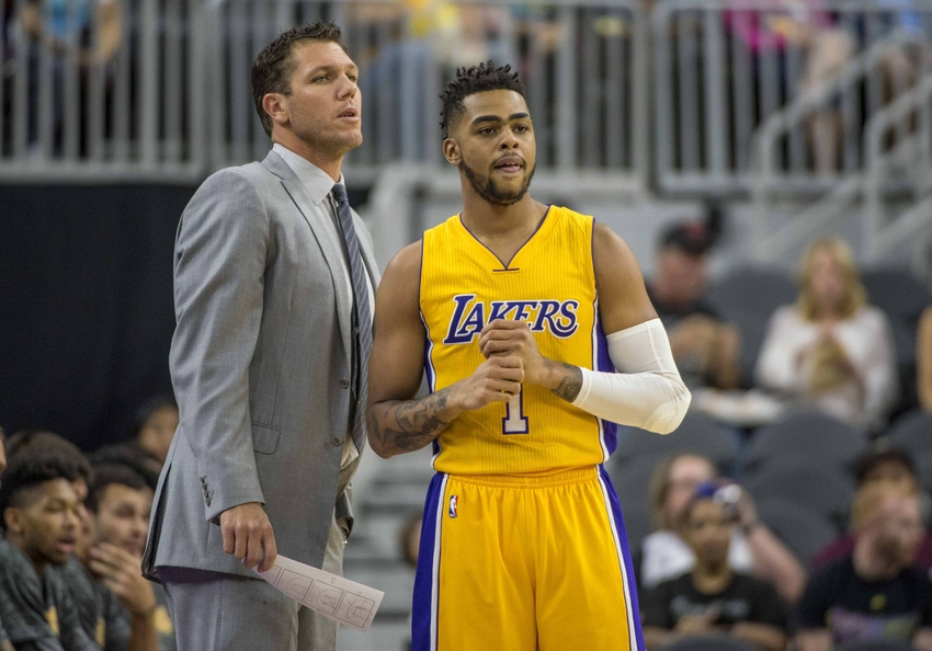 Oct 13, 2016; Las Vegas, NV, USA; Los Angeles Lakers head coach Luke Walton talks with Los Angeles Lakers guard D'Angelo Russell (1) while playing against the Sacramento Kings during the first quarter at T-Mobile Arena. Mandatory Credit: Joshua Dahl-USA TODAY Sports