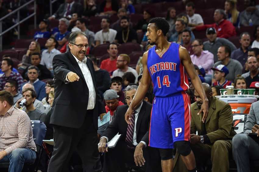 Oct 15, 2016; Philadelphia, PA, USA; Detroit Pistons head coach Stan Van Gundy talks to Detroit Pistons guard Ish Smith (14) during the first quarter of the preseason game against the Philadelphia 76ers at the Wells Fargo Center. Mandatory Credit: John Geliebter-USA TODAY Sports