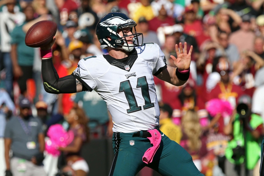 Oct 16, 2016; Landover, MD, USA; Philadelphia Eagles quarterback Carson Wentz (11) throws the ball against the Washington Redskins in the third quarter at FedEx Field. The Redskins won 27-20. Mandatory Credit: Geoff Burke-USA TODAY Sports