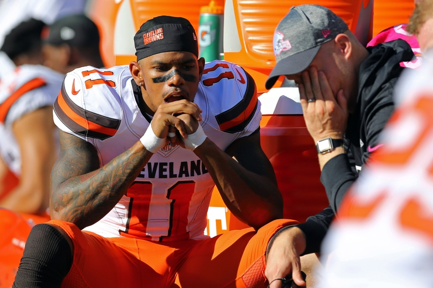 Oct 23, 2016; Cincinnati, OH, USA; Cleveland Browns wide receiver Terrelle Pryor (11) reacts on the sidelines against the Cincinnati Bengals in the second half at Paul Brown Stadium. The Bengals won 31-17. Mandatory Credit: Aaron Doster-USA TODAY Sports