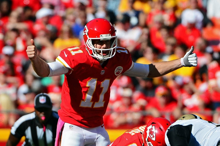 Oct 23, 2016; Kansas City, MO, USA; Kansas City Chiefs quarterback Alex Smith (11) signals his team during the second half against the New Orleans Saints at Arrowhead Stadium. The Chiefs won 27-21. Mandatory Credit: Jeff Curry-USA TODAY Sports