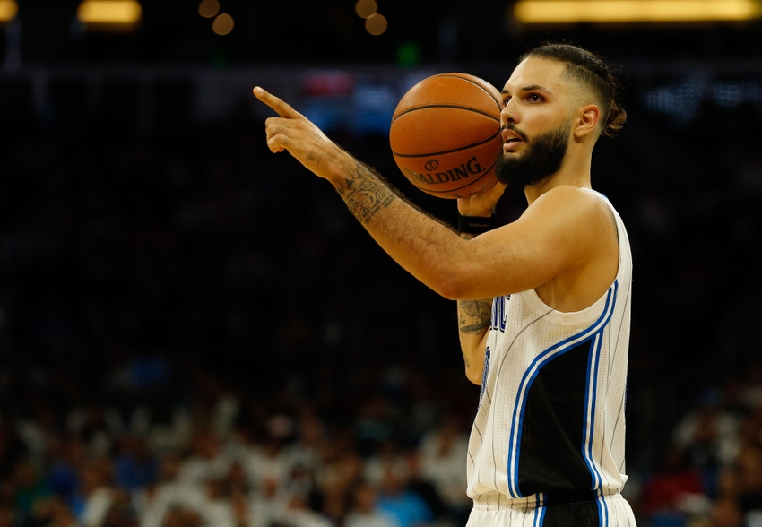 Oct 26, 2016; Orlando, FL, USA; Orlando Magic guard Evan Fournier (10) during the second half at Amway Center. Miami Heat defeated the Orlando Magic 108-96. Mandatory Credit: Kim Klement-USA TODAY Sports