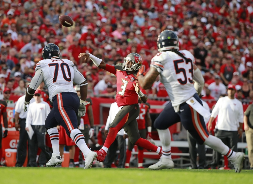 Dec 27, 2015; Tampa, FL, USA; Tampa Bay Buccaneers quarterback Jameis Winston (3) throws the ball against the Chicago Bears during the second half at Raymond James Stadium. Chicago Bears defeated the Tampa Bay Buccaneers 26-21. Mandatory Credit: Kim Klement-USA TODAY Sports