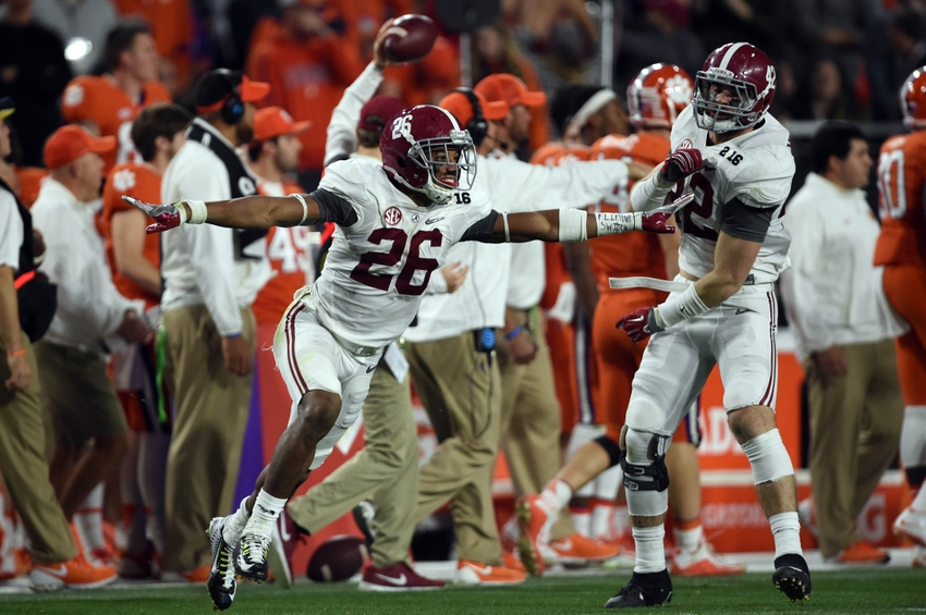 Jan 11, 2016; Glendale, AZ, USA; Alabama Crimson Tide defensive back Marlon Humphrey (26) celebrates after recovering an onside kick against the Clemson Tigers in the 2016 CFP National Championship at University of Phoenix Stadium. Mandatory Credit: Joe Camporeale-USA TODAY Sports