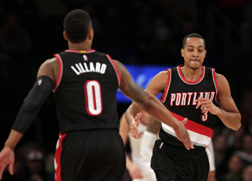 Portland Trail Blazers guards C.J. McCollum (3) and Damian Lillard (0) anchor my FanDuel daily picks lineup for tonight. Mandatory Credit: Adam Hunger-USA TODAY Sports