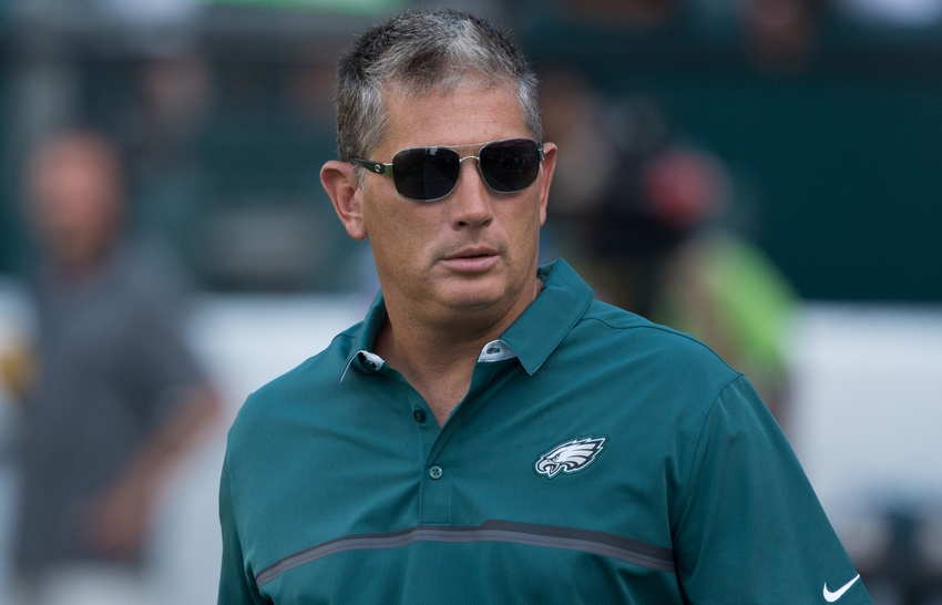 Aug 11, 2016; Philadelphia, PA, USA; Philadelphia Eagles defensive coordinator Jim Schwartz prior to action against the Tampa Bay Buccaneers at Lincoln Financial Field. Mandatory Credit: Bill Streicher-USA TODAY Sports