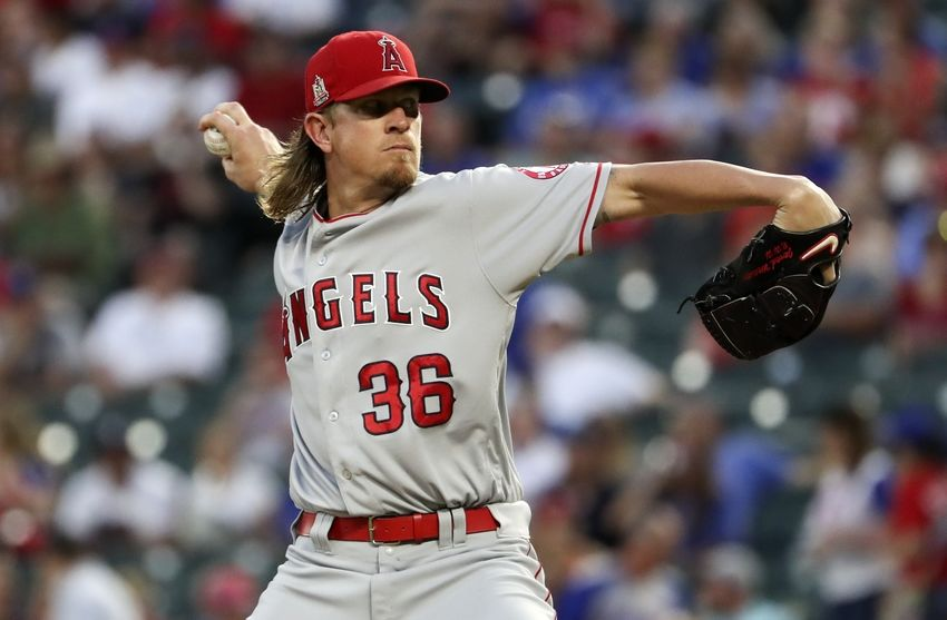 Sep 21, 2016; Arlington, TX, USA; Los Angeles Angels starting pitcher Jered Weaver (36) throws during the first inning against the Texas Rangers at Globe Life Park in Arlington. Mandatory Credit: Kevin Jairaj-USA TODAY Sports