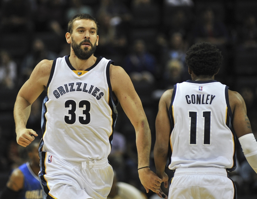 Both Memphis Grizzlies center Marc Gasol (33) and guard Mike Conley (11) are in my FanDuel daily picks lineup for the day. Mandatory Credit: Justin Ford-USA TODAY Sports