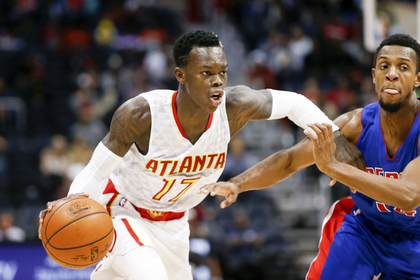 Oct 13, 2016; Atlanta, GA, USA; Atlanta Hawks guard Dennis Schroder (17) drives on Detroit Pistons guard Ish Smith (14) in the third quarter at Philips Arena. The Pistons defeated the Hawks 99-94. Mandatory Credit: Brett Davis-USA TODAY Sports