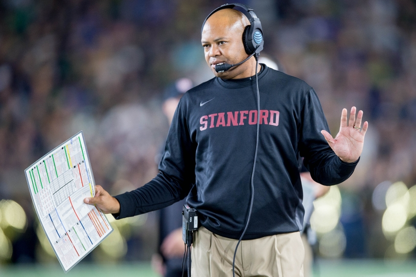 Oct 15, 2016; South Bend, IN, USA; Stanford Cardinal head coach David Shaw gestures from the sidelines in the first quarter against the Notre Dame Fighting Irish at Notre Dame Stadium. Mandatory Credit: Matt Cashore-USA TODAY Sports