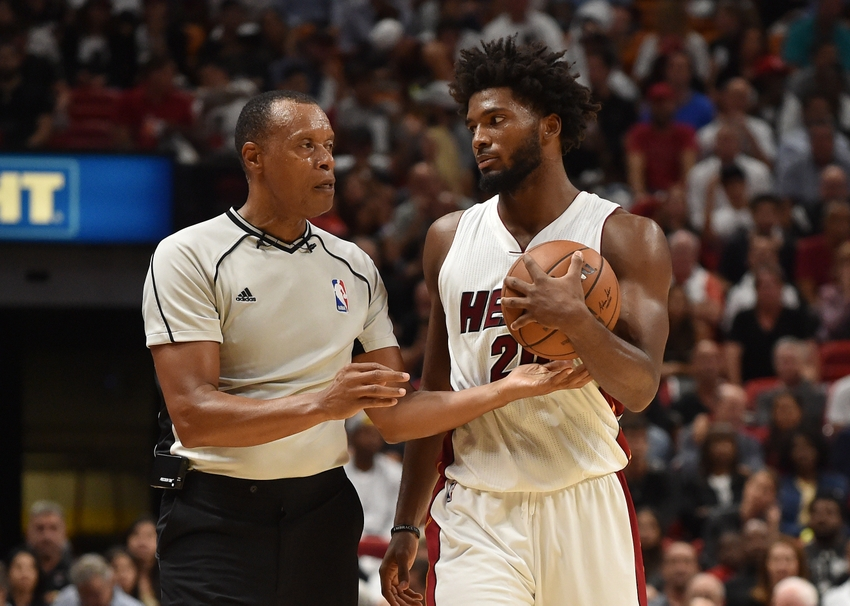 Oct 28, 2016; Miami, FL, USA; NBA referee Rodney Mott (L) talks with Miami Heat forward Justise Winslow (R) during the second half against the Charlotte Hornets at American Airlines Arena. The Charlotte Hornets won 97-91. Mandatory Credit: Steve Mitchell-USA TODAY Sports