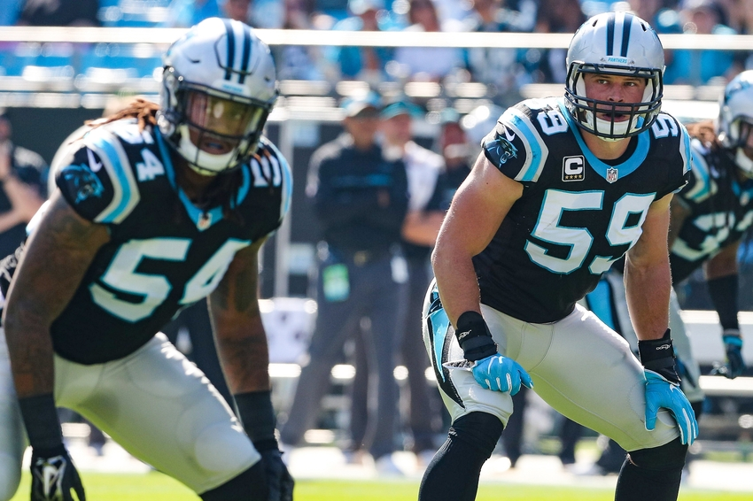 Oct 30, 2016; Charlotte, NC, USA; Carolina Panthers middle linebacker Luke Kuechly (59) and outside linebacker Shaq Green-Thompson (54) against the Arizona Cardinals during the first quarter at Bank of America Stadium. Mandatory Credit: Jim Dedmon-USA TODAY Sports