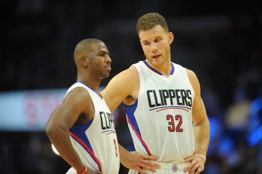 October 31, 2016; Los Angeles, CA, USA; Los Angeles Clippers forward Blake Griffin (32) speaks with guard Chris Paul (3) during a stoppage in play against the Phoenix Suns during the first half at Staples Center. Mandatory Credit: Gary A. Vasquez-USA TODAY Sports