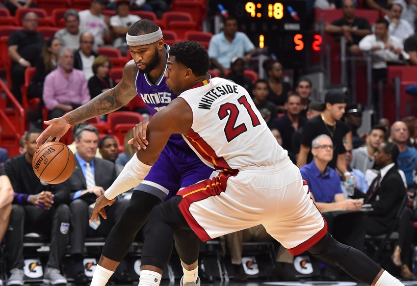 Nov 1, 2016; Miami, FL, USA; Sacramento Kings center DeMarcus Cousins (15) drives the ball around Miami Heat center Hassan Whiteside (21) during the first half at American Airlines Arena. Mandatory Credit: Jasen Vinlove-USA TODAY Sports