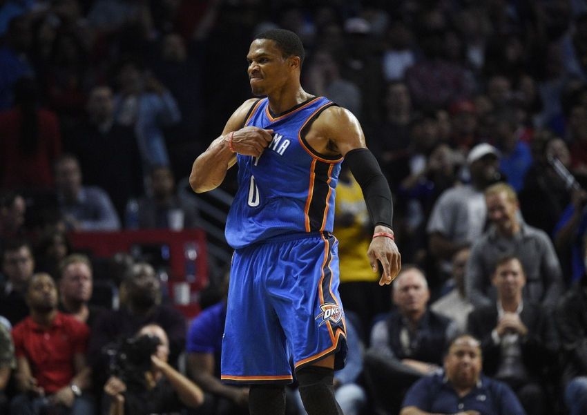 Nov 2, 2016; Los Angeles, CA, USA; Oklahoma City Thunder guard Russell Westbrook (0) reacts after a shot against the Los Angeles Clippers during the fourth quarter at Staples Center. The Oklahoma City Thunder won 85-83. Mandatory Credit: Kelvin Kuo-USA TODAY Sports