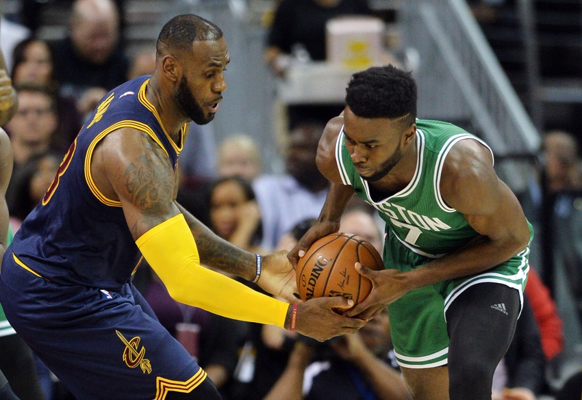 Nov 3, 2016; Cleveland, OH, USA; Cleveland Cavaliers forward LeBron James (23) fights for the ball with Boston Celtics forward Jaylen Brown (7) during the first quarter at Quicken Loans Arena. Mandatory Credit: Ken Blaze-USA TODAY Sports