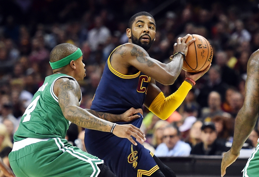 Nov 3, 2016; Cleveland, OH, USA; Boston Celtics guard Isaiah Thomas (4) guards Cleveland Cavaliers guard Kyrie Irving (2) during the first quarter at Quicken Loans Arena. Mandatory Credit: Ken Blaze-USA TODAY Sports