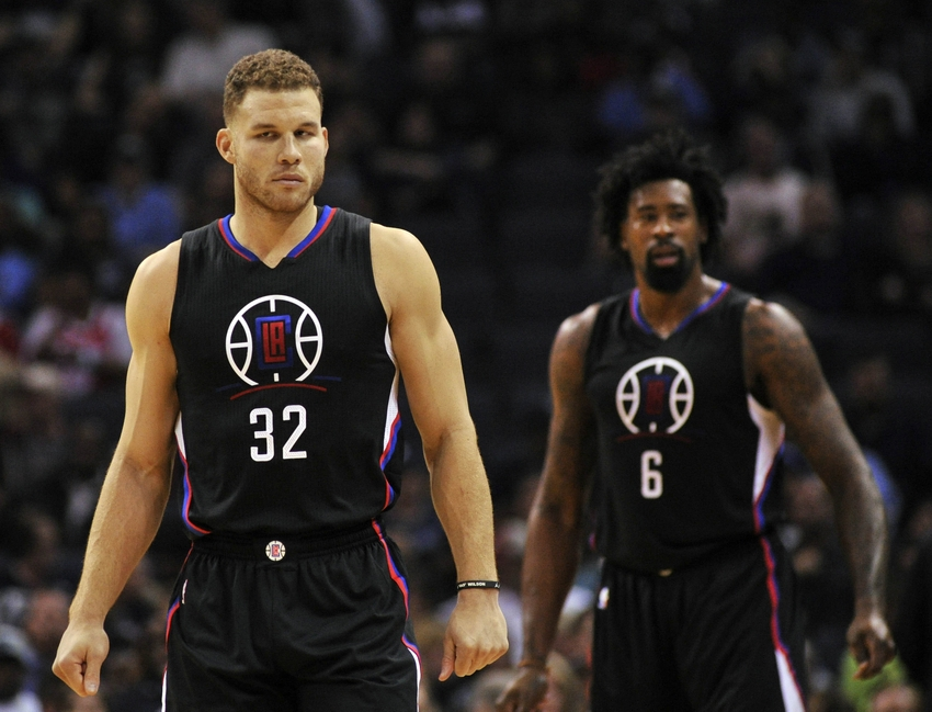 Nov 4, 2016; Memphis, TN, USA; Los Angeles Clippers forward Blake Griffin (32) and Los Angeles Clippers center DeAndre Jordan (6) before the game against the Memphis Grizzlies at FedExForum. Mandatory Credit: Justin Ford-USA TODAY Sports