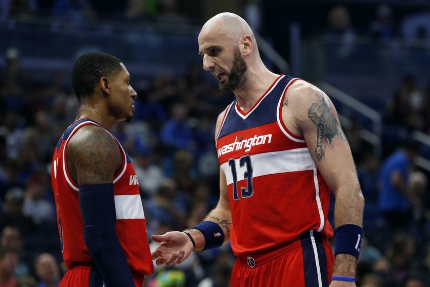 Nov 5, 2016; Orlando, FL, USA; Washington Wizards center Marcin Gortat (13) and guard Bradley Beal (3) talk against the Orlando Magic during the first quarter at Amway Center. Mandatory Credit: Kim Klement-USA TODAY Sports