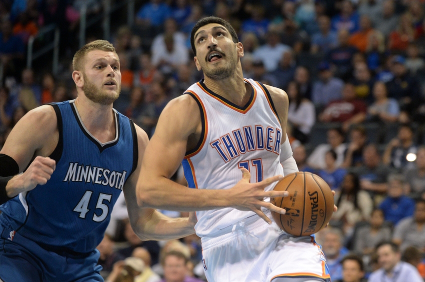 Nov 5, 2016; Oklahoma City, OK, USA; Oklahoma City Thunder center Enes Kanter (11) drives to the basket in front of Minnesota Timberwolves center Cole Aldrich (45) during the fourth quarter at Chesapeake Energy Arena. Mandatory Credit: Mark D. Smith-USA TODAY Sports