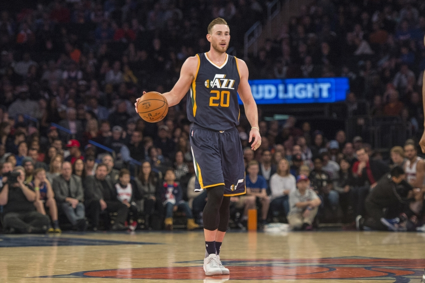 Nov 6, 2016; New York, NY, USA; Utah Jazz small forward Gordon Hayward (20) dribbles the ball up court against the New York Knicks during the third quarter at Madison Square Garden. Utah won 114-109. Mandatory Credit: Gregory J. Fisher-USA TODAY Sports