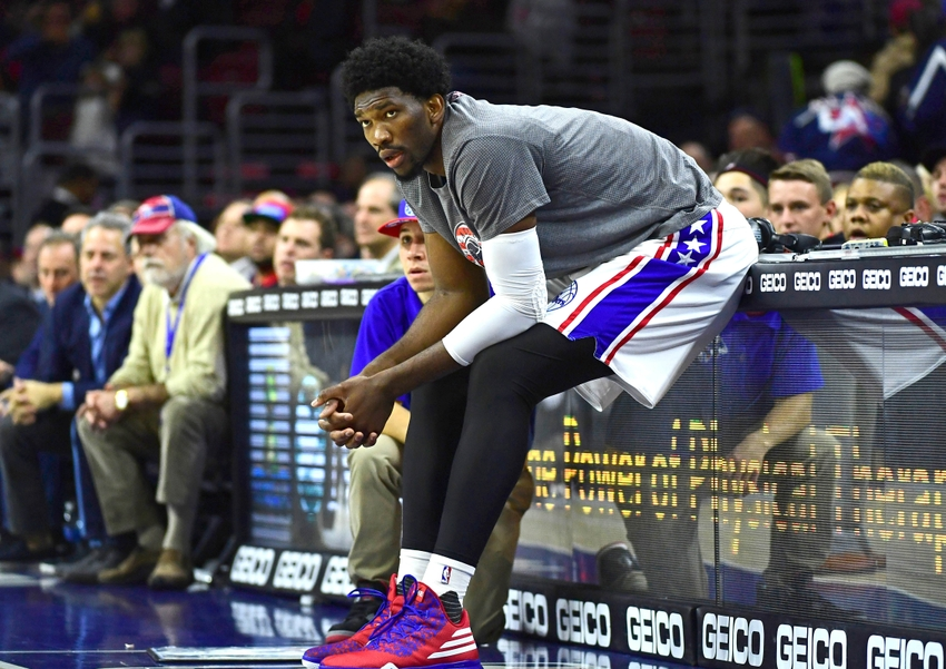 Nov 7, 2016; Philadelphia, PA, USA; Philadelphia 76ers center Joel Embiid (21) waits to enter the game against the Utah Jazz during the second quarter at Wells Fargo Center. Mandatory Credit: Eric Hartline-USA TODAY Sports