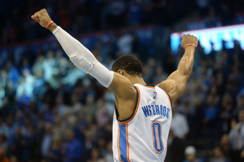 Nov 7, 2016; Oklahoma City, OK, USA; Oklahoma City Thunder guard Russell Westbrook (0) takes the court prior to action against the Miami Heat at Chesapeake Energy Arena. Mandatory Credit: Mark D. Smith-USA TODAY Sports