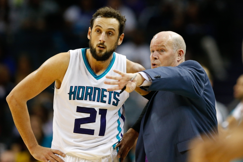 Nov 7, 2016; Charlotte, NC, USA; Charlotte Hornets head coach Steve Clifford talks with guard Marco Belinelli (21) in the second half against the Indiana Pacers at Spectrum Center. The Hornets defeated the Pacers 122-100. Mandatory Credit: Jeremy Brevard-USA TODAY Sports