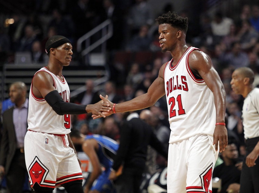 Nov 7, 2016; Chicago, IL, USA; Chicago Bulls guard Jimmy Butler (21) and guard Rajon Rondo (9) celebrate during the second half of the game against the Orlando Magic at United Center. Mandatory Credit: Caylor Arnold-USA TODAY Sports