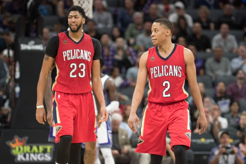Both Anthony Davis (23) and guard Tim Frazier (2) are in my FanDuel daily picks lineup as they go for their first win of the season in Milwaukee tonight. Mandatory Credit: Ed Szczepanski-USA TODAY Sports