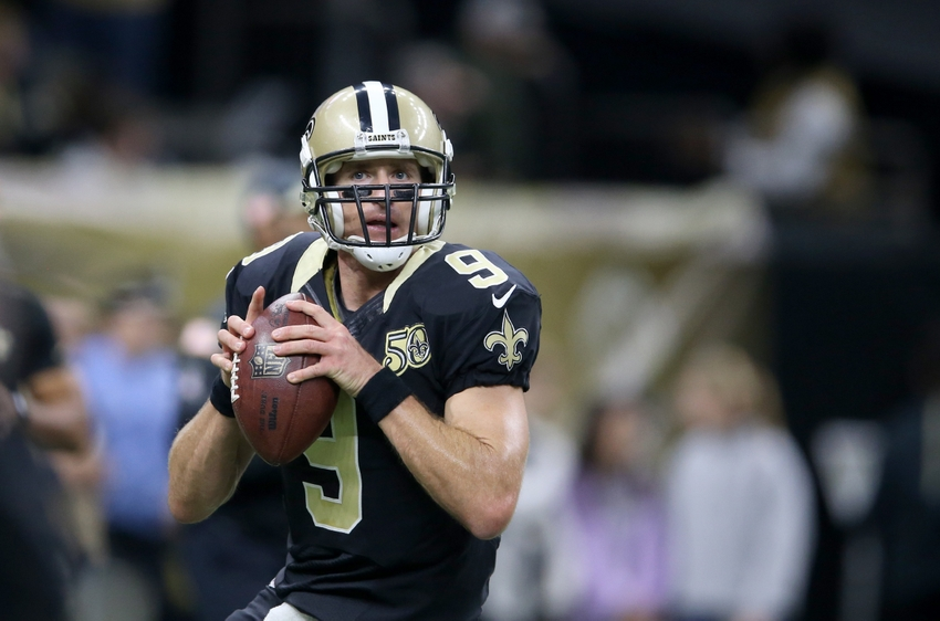 Nov 13, 2016; New Orleans, LA, USA; New Orleans Saints quarterback Drew Brees (9) warms up before the game against the Denver Broncos at the Mercedes-Benz Superdome. Mandatory Credit: Chuck Cook-USA TODAY Sports