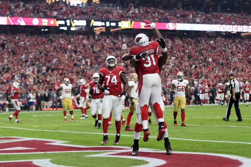 Nov 13, 2016; Glendale, AZ, USA; Arizona Cardinals running back David Johnson (31) celebrates a touchdown against the San Francisco 49ers during the first half at University of Phoenix Stadium. Mandatory Credit: Joe Camporeale-USA TODAY Sports