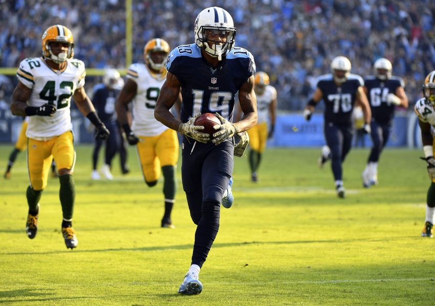 Nov 13, 2016; Nashville, TN, USA; Tennessee Titans wide receiver Tajae Sharpe (19) runs for a touchdown after a reception during the second half against the Green Bay Packers at Nissan Stadium. The Titans won 47-25. Mandatory Credit: Christopher Hanewinckel-USA TODAY Sports