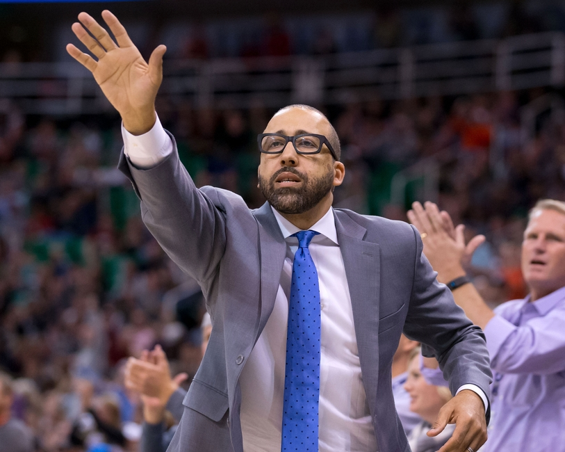 Nov 14, 2016; Salt Lake City, UT, USA; Memphis Grizzlies head coach David Fizdale attempts to get a referee