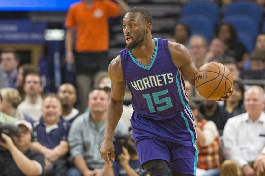 Nov 15, 2016; Minneapolis, MN, USA; Charlotte Hornets guard Kemba Walker (15) dribbles the ball up court in the first half against the Minnesota Timberwolves at Target Center. Mandatory Credit: Jesse Johnson-USA TODAY Sports