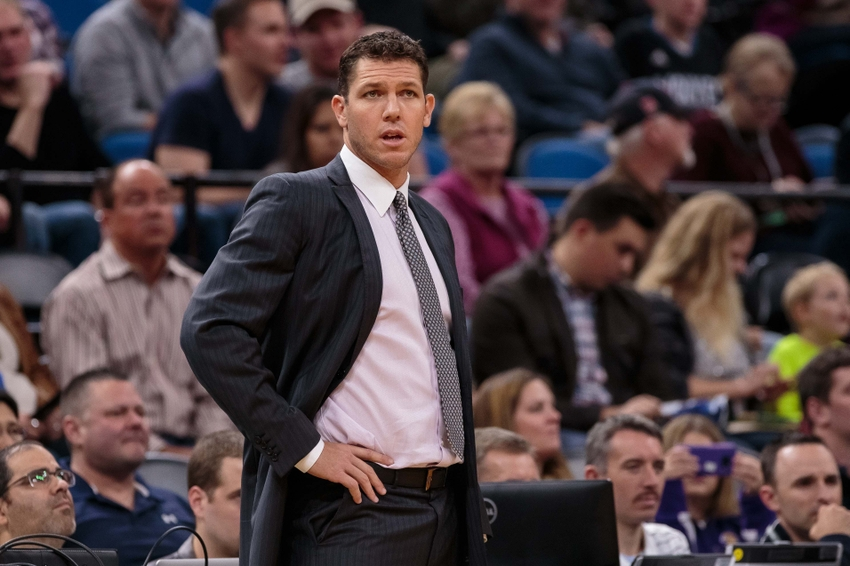 Nov 13, 2016; Minneapolis, MN, USA; Los Angeles Lakers head coach Luke Walton in the first quarter against the Minnesota Timberwolves at Target Center. Mandatory Credit: Brad Rempel-USA TODAY Sports